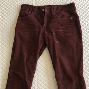 Men's burgundy Levi's 511 corduroy pants 31x32